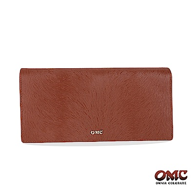 OMC 進口小牛皮-馬尾紋對折12卡雙透明窗零錢長夾-咖啡