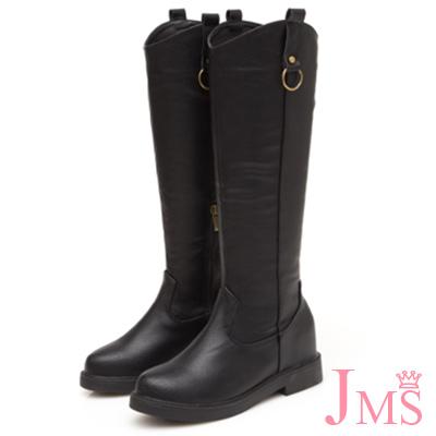 JMS-素面U型剪裁修腿內增高拉鍊長靴-黑色