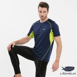【LACHELN】男款MIT抗UV吸排快乾運動圓領上衣-深藍色(S72MA06)