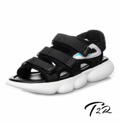 T2R 正韓空運-2019夏季新款魔鬼氈厚底運動涼鞋-微增高4cm-黑