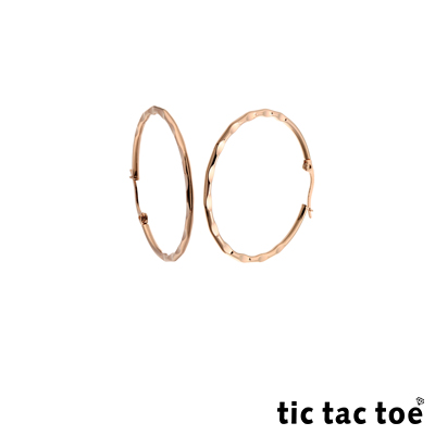 tic tac toe 足跡 白鋼圓形耳扣耳環 3cm 玫瑰金色
