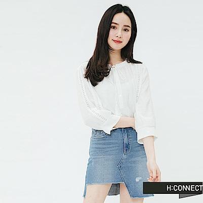 H:CONNECT 韓國品牌 女裝-流蘇綁結刺繡上衣-白