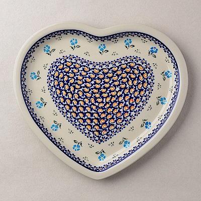 波蘭陶青藍小花系列愛心造型餐盤波蘭手工製