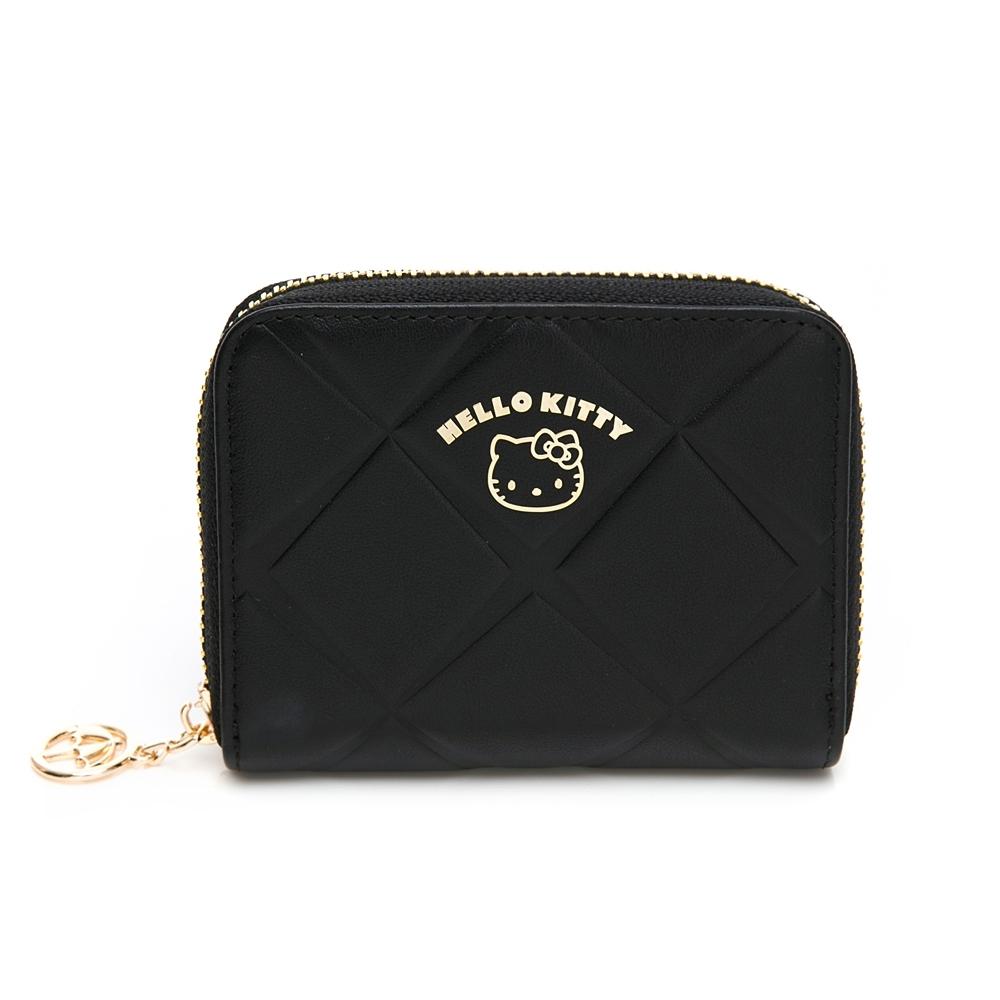 Hello Kitty聯名- 零錢包 Diamond  Check / 菱格烙印-黑色