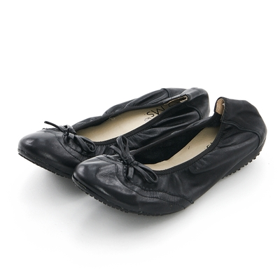 G.Ms. 牛津蝴蝶結牛皮彎折娃娃鞋-黑色