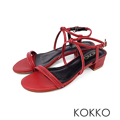 KOKKO - 女神降臨細帶真皮低跟涼鞋 -  番茄紅