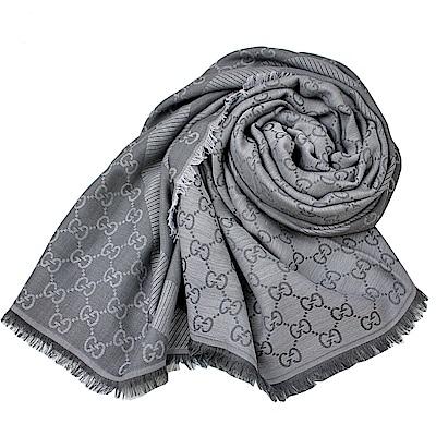 GUCCI  經典GG LOGO 羊毛混絲斜紋雙色方形圍巾披肩-深淺灰