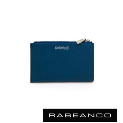 RABEANCO 頂級牛皮多功能拉鍊卡片套 牛仔藍