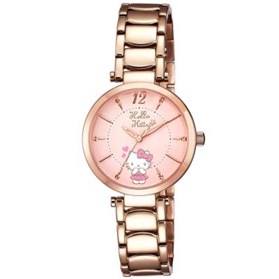 HELLO KITTY 凱蒂貓 水玉點點甜美手錶-粉紅x玫瑰金/32mm