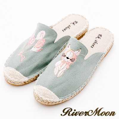 River&Moon穆勒-不對稱電繡狗狗氣球麻編涼拖鞋-綠系