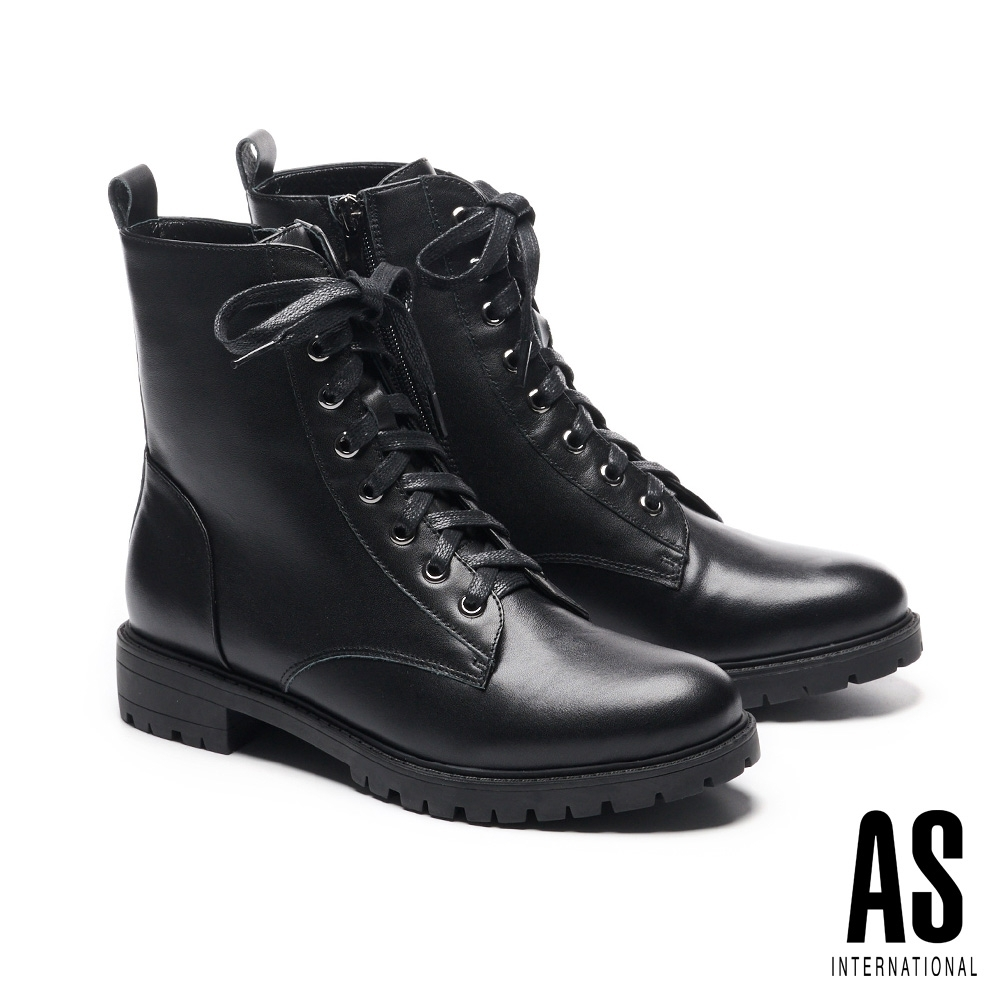 短靴 AS 街頭潮流率性綁帶牛皮短靴-黑