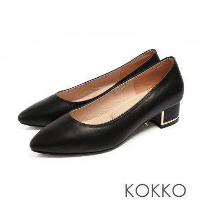KOKKO - OL最愛尖頭金屬軟墊粗跟鞋 - 經典黑色