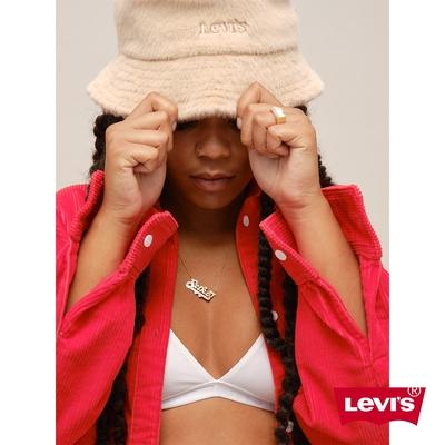 Levis 女款 漁夫帽 仿皮草質感帽身 精工刺繡Logo