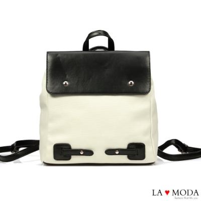 La Moda 舒適百搭大容量拼接設多背法肩背斜背後背包(黑)