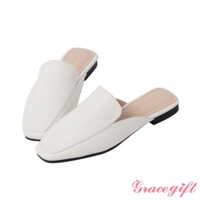Grace gift-素面方頭低跟穆勒鞋 白