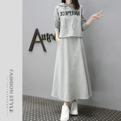 2F韓衣-簡約連帽文字造型套裝-2色(M-2XL)