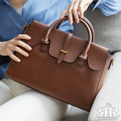 2R 輕軟牛皮color細紋雙層肩背兩用包 咖啡