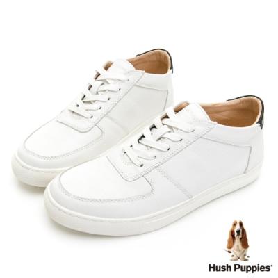 Hush Puppies Bull Terrier舒適皮革休閒鞋-白色