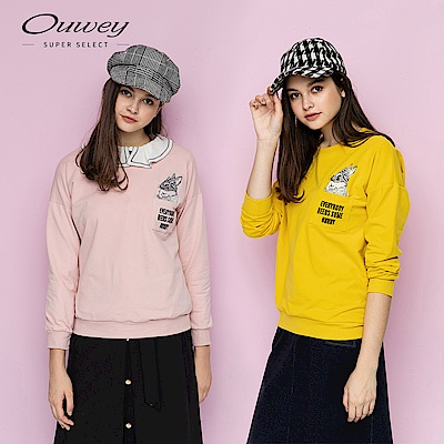 OUWEY歐薇 可愛兔兔標語刺繡大學T(粉/黃)