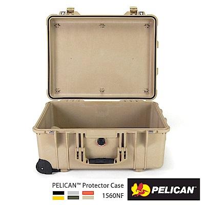 美國 PELICAN 1560NF 輪座拉桿氣密箱-空箱(沙漠黃)