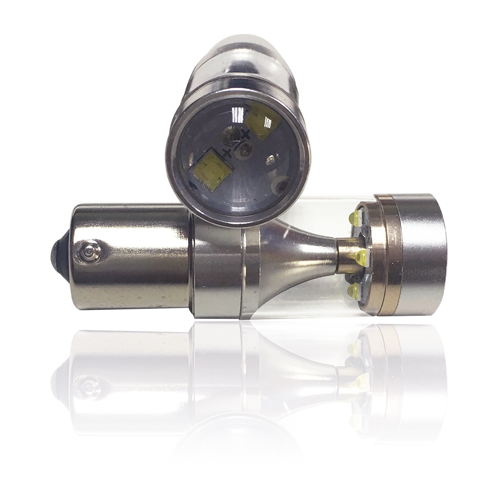 【車的LED】勁亮 1156 平腳款 爆閃 6LED 魚眼燈 30w 白光(單入組)