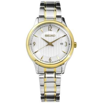 SEIKO 精工 婉約 礦石玻璃 日期 防水100M 不鏽鋼手錶-銀x鍍金/29mm