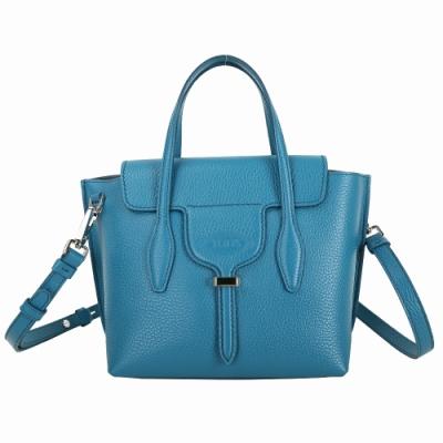 TOD'S Joy Bag T釦牛皮手提肩背包(土耳其藍)