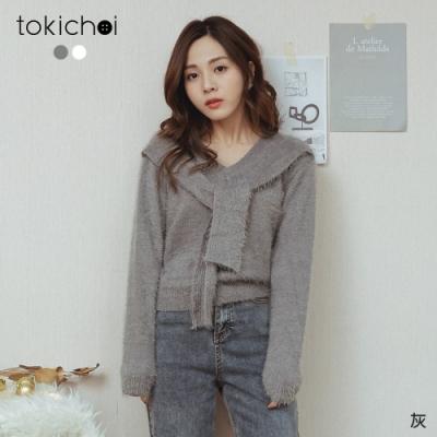東京著衣 微甜時光V領假披肩磨毛針織上衣(共二色)