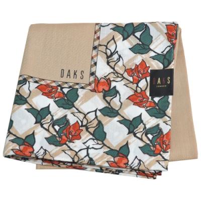 DAKS 經典格紋品牌字母LOGO花朵圖騰大帕領巾(駝色系)