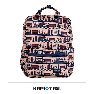 日本HAPI+TAS 可手提 折疊後背包 米色倫敦風情