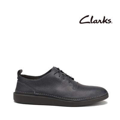Clarks 步步清新 簡約復古精緻縫線設計休閒男鞋 深灰色