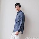 GIORDANO 男裝經典刺繡彈力牛津紡長袖襯衫-64 海軍藍