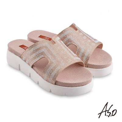 A.S.O 時尚流行 夏季輕量絨面羊皮燙鑽拖鞋-金