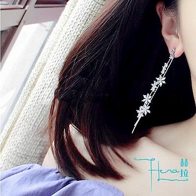 日韓版 S925銀針 花朵鋯石 耳釘時尚 氣質流蘇長款耳墜耳環配飾