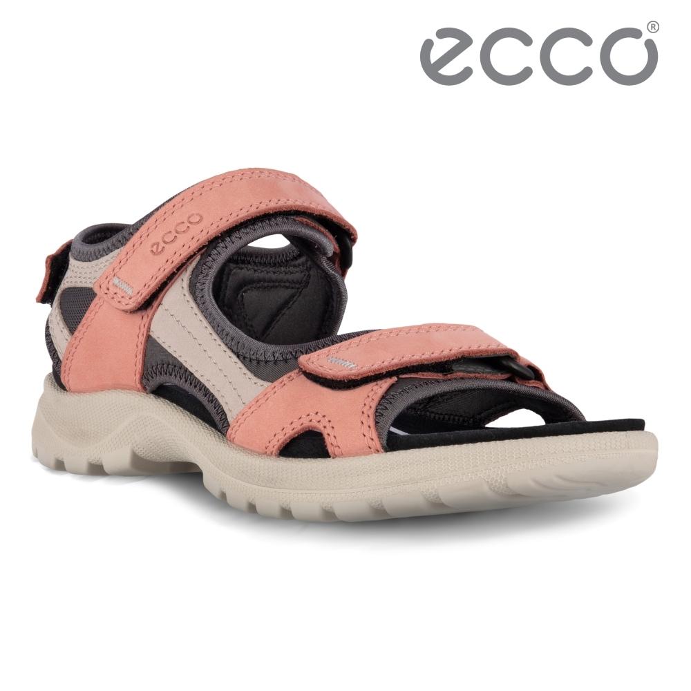 ECCO ONROADS W 撞色皮革戶外休閒涼鞋 網路獨家 女鞋 灰粉色/月石灰