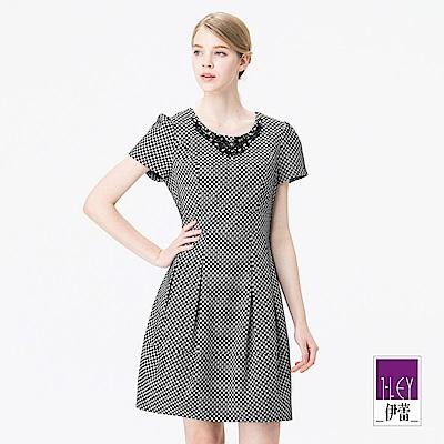 ILEY伊蕾 修身公主線打褶造型格紋緹花洋裝(黑)