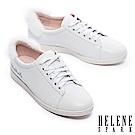 休閒鞋 HELENE SPARK Enchant系列水貂毛設計全真皮綁帶休閒鞋-白
