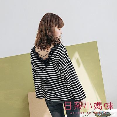 日系小媽咪孕婦裝-MIT孕婦裝 柔美V領蕾絲後交叉條紋上衣