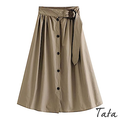 高腰雙圓環繫帶排釦裙 TATA