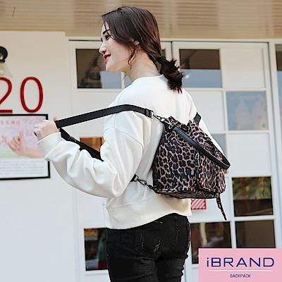 iBrand 簡約口袋3WAY水桶包後背包-豹紋