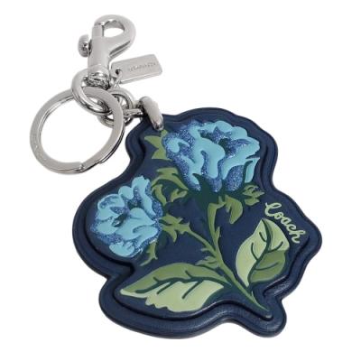 COACH藍色真皮玫瑰花印雙扣環鑰匙圈