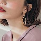 純色不規則橢圓垂墜耳針式耳環-OB大尺碼