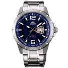 ORIENT東方經典時尚日期手錶FUG1X004D-藍X銀/43mm