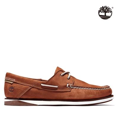 Timberland 男款紅棕色Atlantis Break磨砂革帆船鞋|A4161