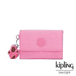 Kipling 甜美糖果粉暗釦翻蓋多夾層短夾-PIXI