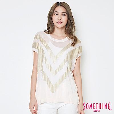 SOMETHING 優雅幾何線衫-女-淡粉紅