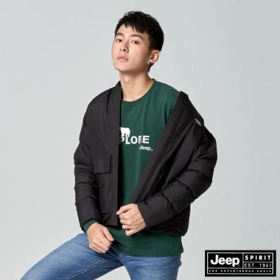 Jeep 男裝 極保暖防寒輕羽絨外套-黑色