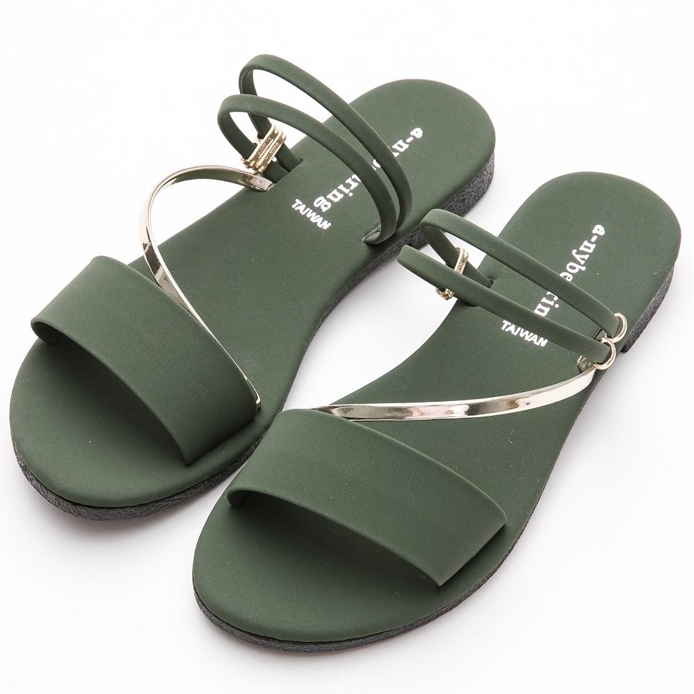 River&Moon拖鞋 台灣製舒適寬版金色斜條2way平底涼鞋 綠