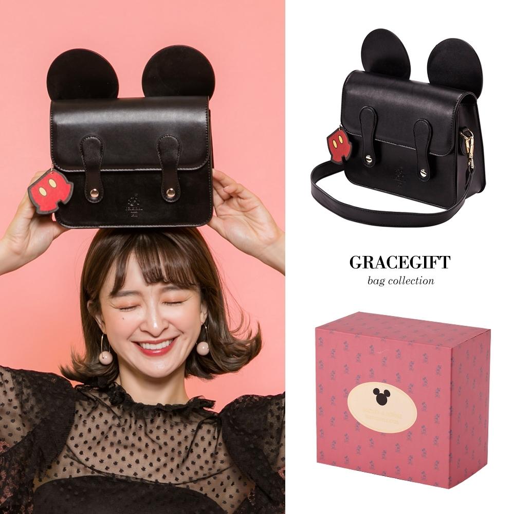 Disney collection by gracegift米奇立體耳朵劍橋包 黑