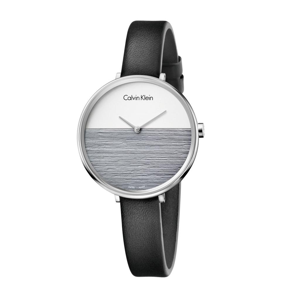 Calvin Klein CK極簡撞色質感皮帶腕錶(K7A231C3)37mm
